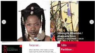 Capture d'écran du site internet du festival Africolor.