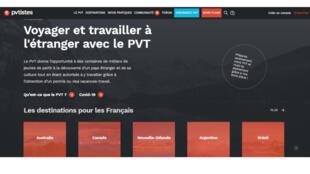 La page d'accueil de site de pvtistes.net