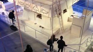 "The central boat installation at the Georges Pompidou Centre's pirate-themed ""Night of Ideas"" event."