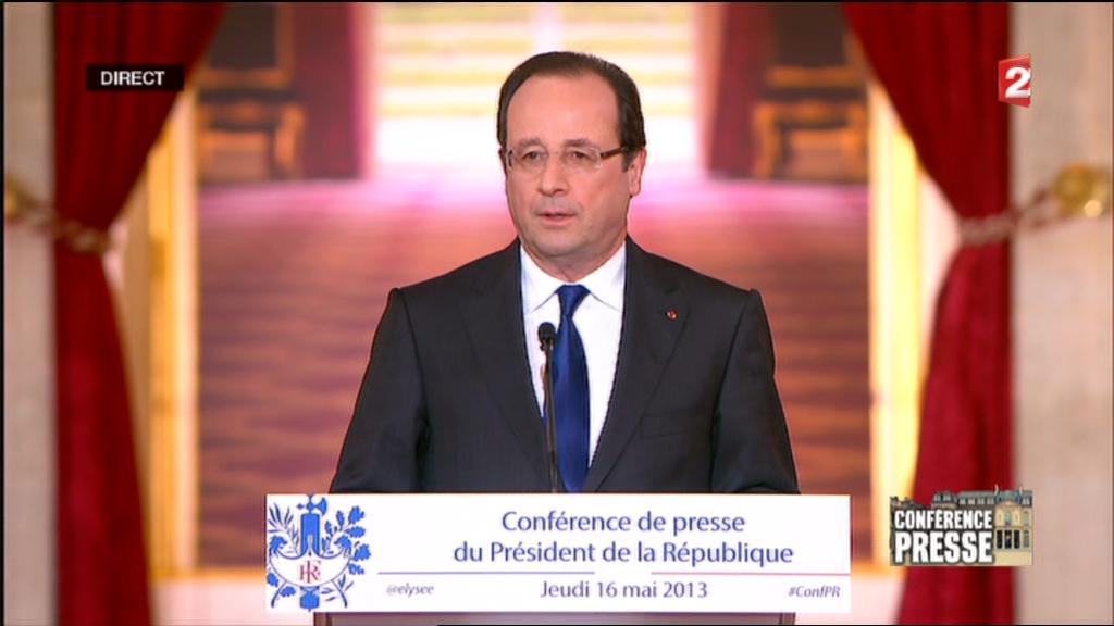 O presidente francês François Hollande durante a coletiva de imprensa no Palácio do Eliseu nesta quinta-feira, 16 de maio de 2013.