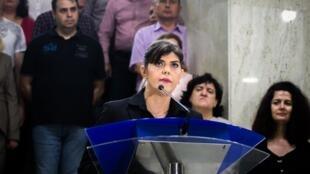 La procureure anticorruption Laura Codruta Kovesi lors d'une conférence de presse le 9 juillet 2018 à Bucarest après son limogeage par le président roumain.