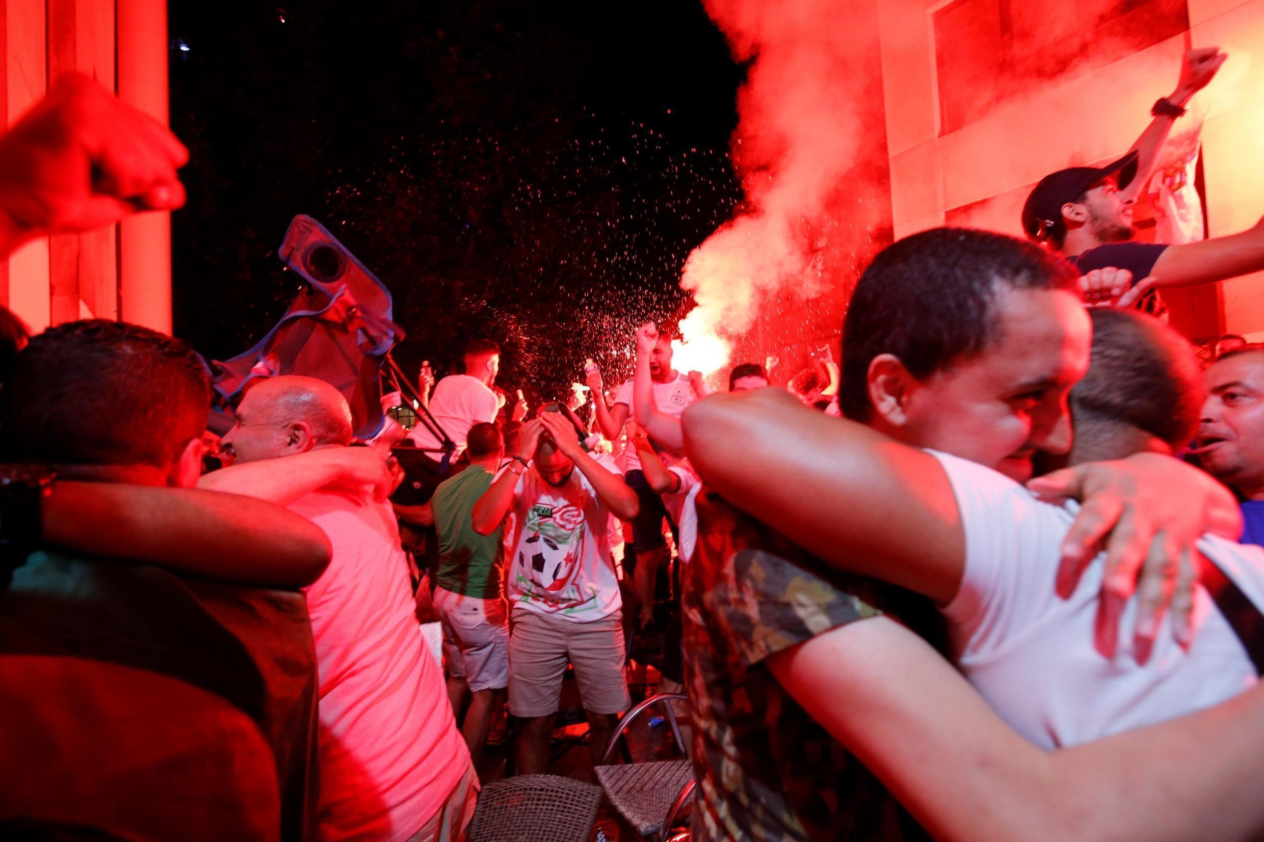 Algeria supporters in Marseille celebrate the 1-0 victory over Senegal in the Africa Cup of Nations final, 19 July 2019.