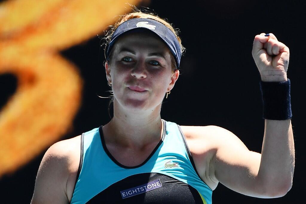 Russia's Anastasia Pavlyuchenkova beat Czech Karolina Pliskova at the Australian Open in Melbourne, 25 January 2020