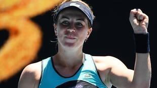 Russia's Anastasia Pavlyuchenkova beat Czech Karolina Pliskova at the Australian Open in Melbourne, 25 January 2020