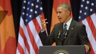 Tổng thống Mỹ Obama phát biểu tại Trung Tâm Hội Nghị Quốc Gia Mỹ Đình, Hà Nội, ngày 24/06/2016.