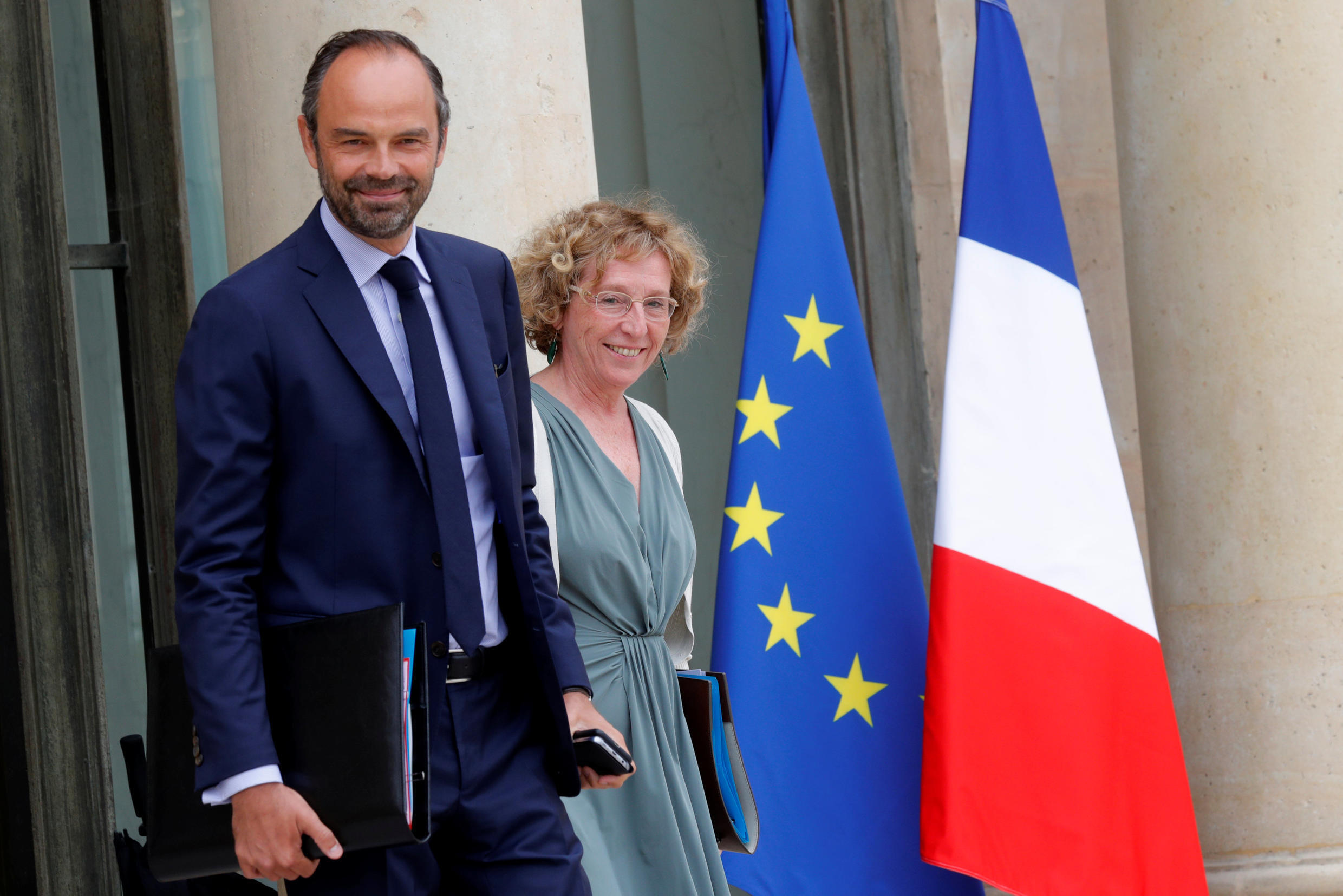 Prime Minister Edouard Philippe with Labour Minister Muriel Pénicaud