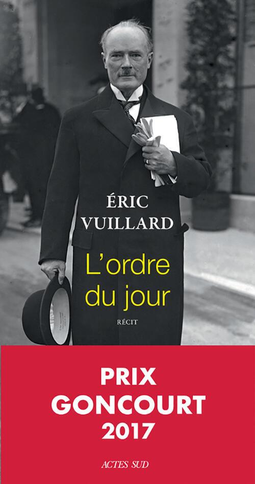 Couverture de L'ordre du jour, d'Eric Vuillard.