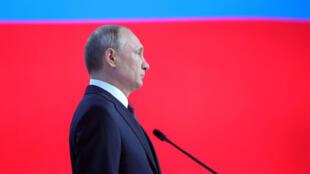 O presidente russo, Vladimir Putin, durante discurso anual no Parlamento, em 20 de fevereiro de 2019.