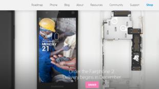La page d'accueil de la société neerlandaise FairPhone.
