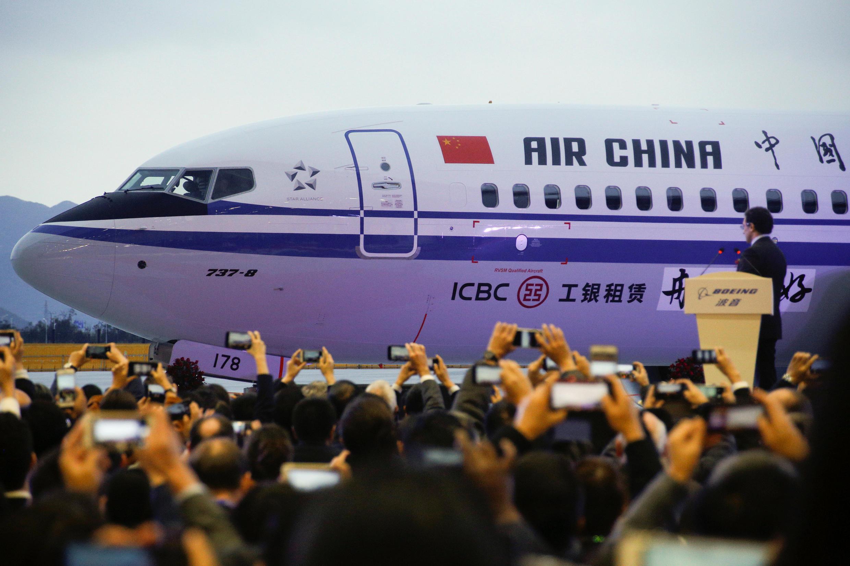 Lễ xuất xưởng chiếc Boeing 737 Max đầu tiên tại trung tâm Chu San hôm 15/12/2018.