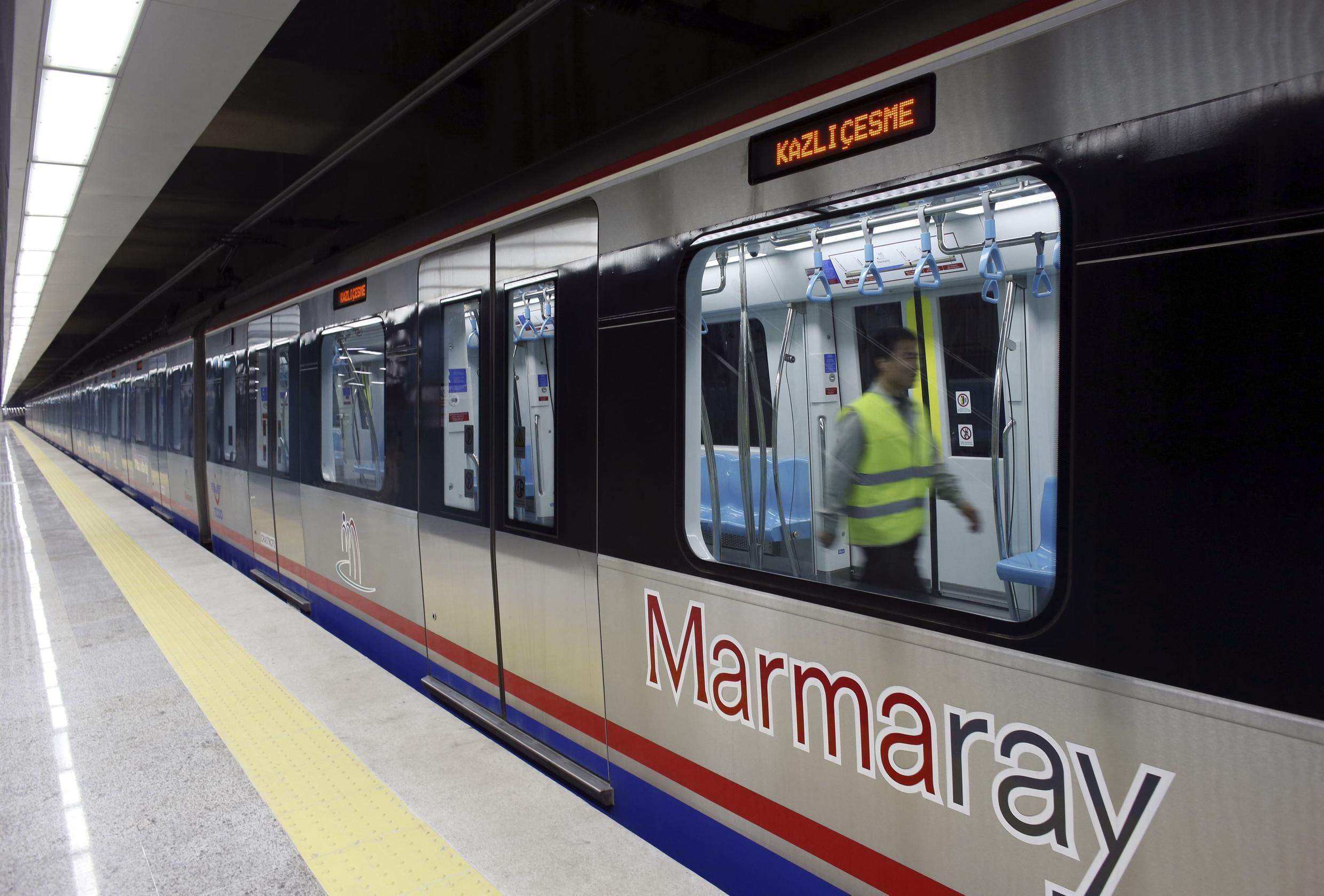 An engineer performs a last check on a train of Marmaray, a subway which links Europe with Asia some 60 metres below the Bosphorus Strait, in Istanbul