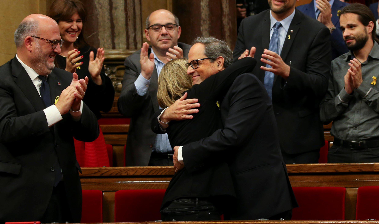 14.05.2018. Барселона. Парламент Каталонии. Ким Торра (справа) после избрания на пост президента Женералитата