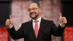 Martin Schulz le 19 mars 2017 à Berlin, lors de sa victoire à l'élection à la présidence du parti social-démocrate allemand.
