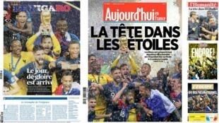 Os principais jornais franceses destacam a conquista da Copa do Mundo pela França.