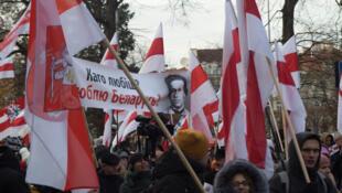 Wasu daga cikin magoya bayan yan siyasa a kasar Belarus