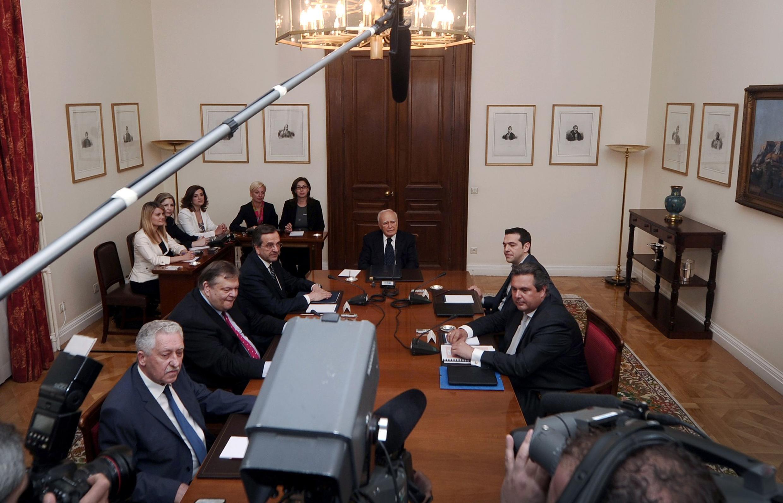 Лидеры парламентских партий на совещании у президента Каролоса Папулиаса 15/05/2012
