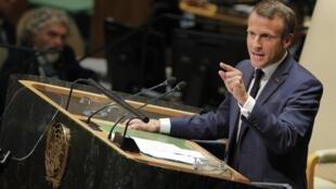 Emmanuel Macron durante discurso na Assembleia Geral da ONU