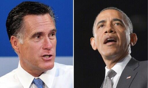 Hai ứng cử viên tổng thống Mỹ : Mitt Romney (t) và Barack Obama (p).