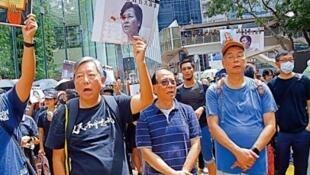 右起:黎智英、楊森及李卓人前年參與8.31遊行,下周判刑。4月7日