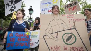 Photo d'illustration. Les manifestants tiennent des pancartes lors d'une marche pour protester contre Monsanto, à Paris le 21 mai 2016.