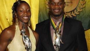 Mwanariadha wa Jamaica, Sherone Simpson na Asafa Powell