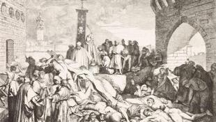 Dịch hạch năm 1348 à Firenze (Florence, Ý), Bản khắc dựa theo một bức tranh của Luigi Sabatelli (1772-1850). Đại dịch xuất phát từ Trung Quốc, được chuyển đến châu Âu theo con đường tơ lụa làm 25 triệu người ở lục địa này thiệt mạng trong khoảng thời gian từ năm 1347 đến 1352.