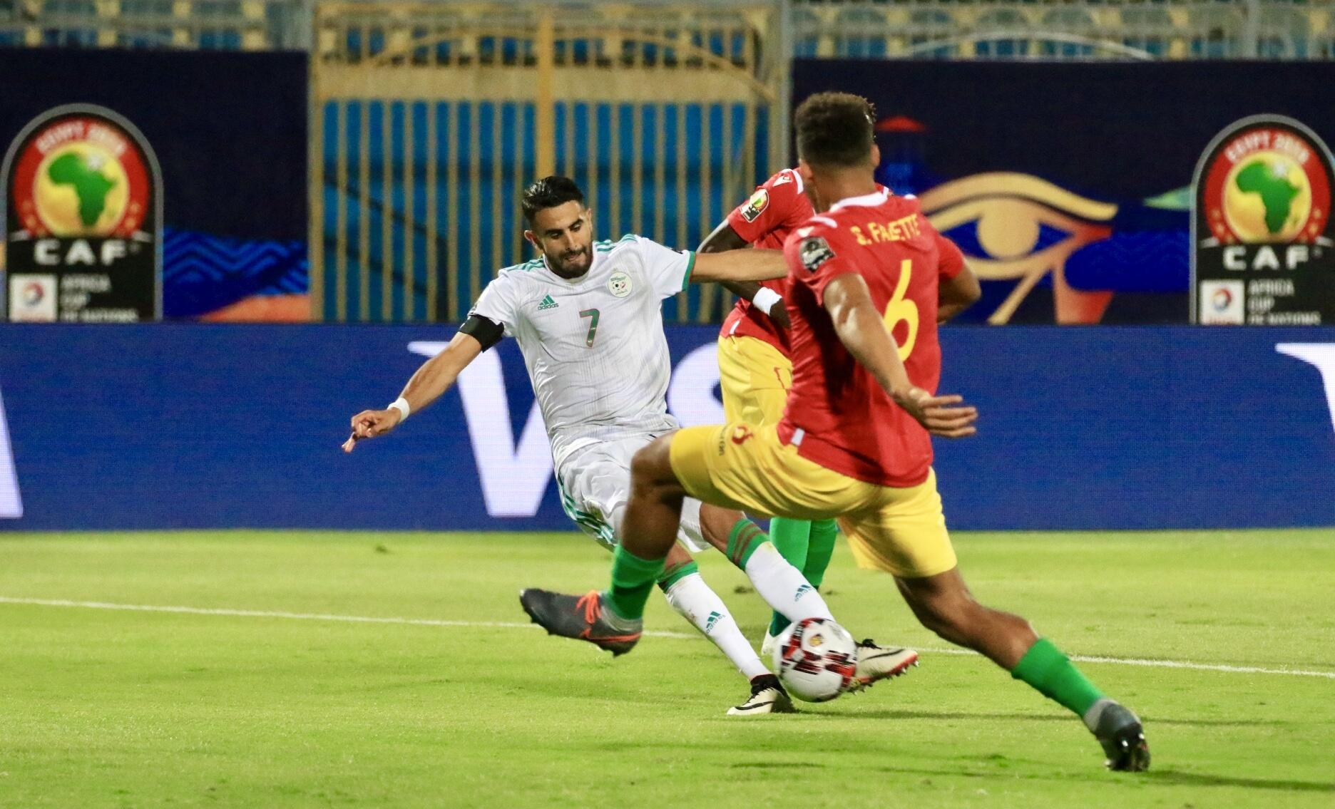 Algeria skipper Riyad Mahrez scored the second of his side's three goals in the victory over Guinea.
