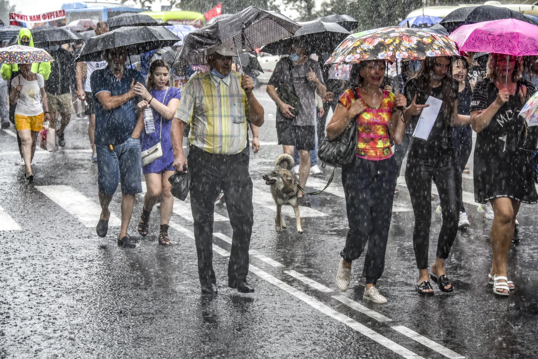 Хабаровск митингует четвертую субботу подряд, на этот раз —  под дождем