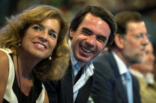 Former Spanish PM José Maria Aznarwith his wife, Madrid mayor Ana Botella