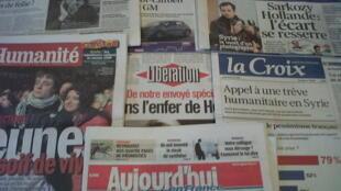 Capas dos diários franceses do dia 23 de Fevereiro de 2012