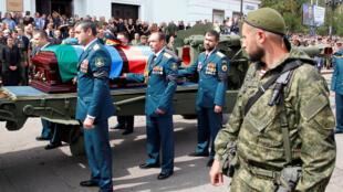 Linh cữu ông Alexandre Zakharchenko, thủ tướng nước Cộng Hòa tự xưng Donetsk, được rước trên đường phố Donetsk, Ukraina, ngày 02/09/2018