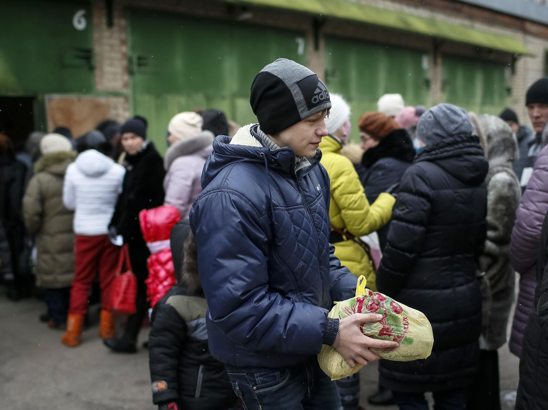 Un réfugié ukrainien à Slaviansk le 7 février 2015