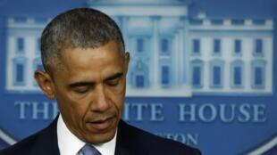 Tỏng thống Mỹ Barack Obama phát biểu tại Nhà Trắng  Ảnh ngày 23/04/2015.