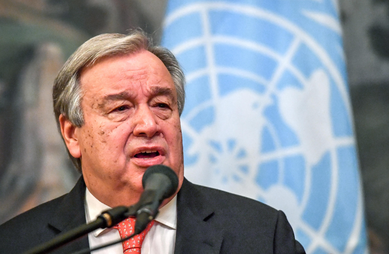 Tổng thư ký Liên Hiệp Quốc Antonio Guterres trong cuộc họp báo ở Matxcơva, ngày 21/06/2018