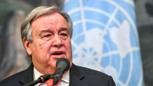 Le secrétaire général des Nations unies, Antonio Guterres, lors d'une conférence de presse à Moscou, le 21 juin 2018.