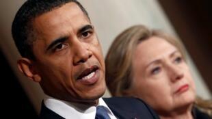 El presidente estadounidense, Barack Obama, y la secretaria de Estado, Hillary Clinton.