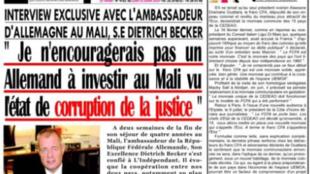 """Capture d'écran de la Une du journal malien """"L'Indépendant"""" où est parue l'interview de l'ambassadeur d'Allemagne au Mali."""