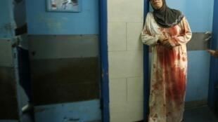 Une Palestinienne, dans un hôpital de Gaza, ce dimanche 20 juillet.