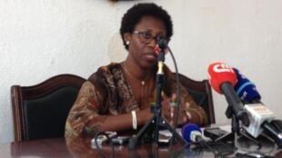 Felizberta Moura Vaz, porta-voz da CNE da Guiné-Bissau, durante a sua comunicação do dia 11 de Março de 2019 em Bissau.