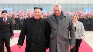 圖為古巴國務委員會主席兼部長會議主席迪亞斯卡內爾2018年11月7日訪問平壤時與朝鮮領導人金正恩