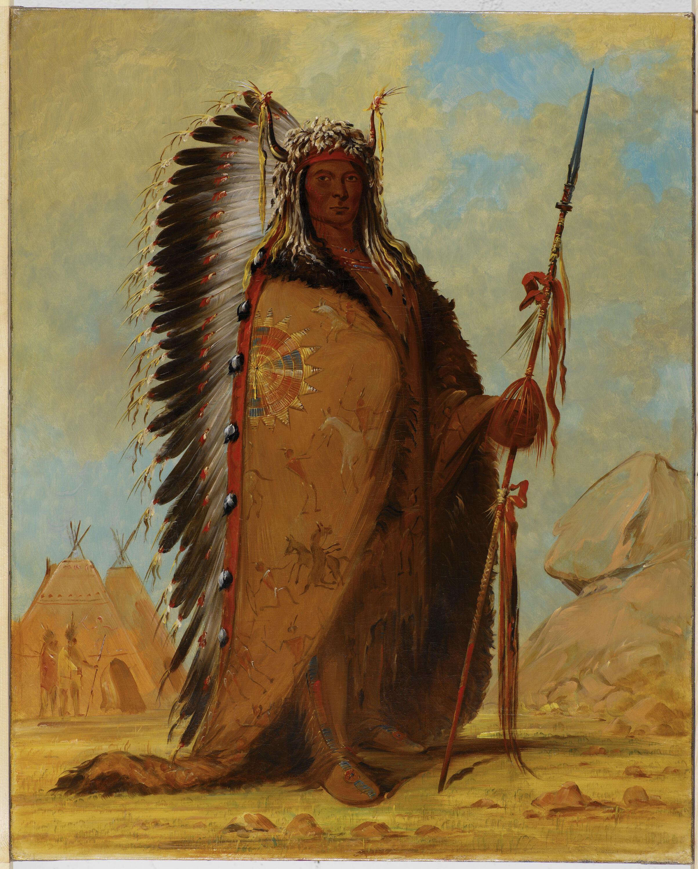 Ee-ah-Sa-Pa (Roca Negra), jefe indio de los Nee-Cow-e-je, de la tribu Sioux, pintado por Georges Caitlin, 1846.