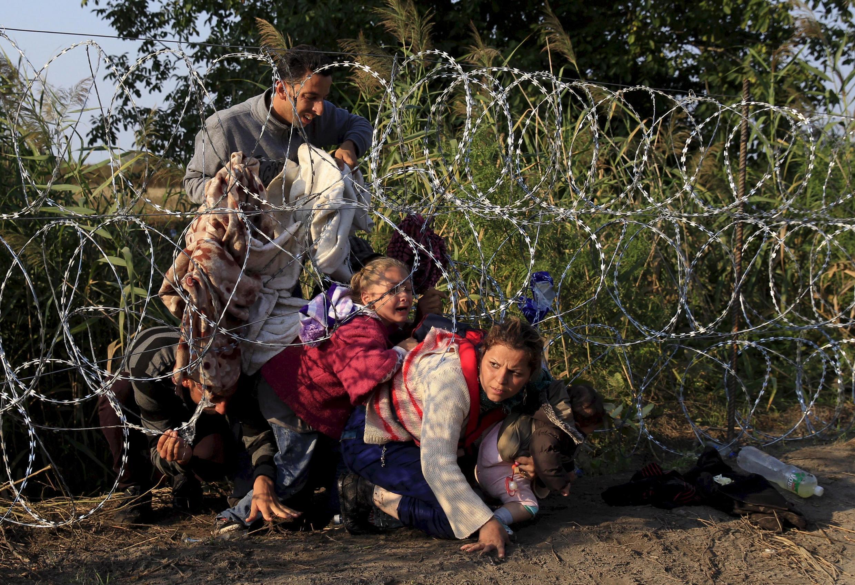 Cирийские беженцы на сербо-венгерской границе, 15 сентября 2015 года