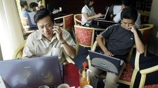 Internet users in an internet café in Ho Chi Minh City