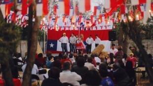Comício da candidata à prefeitura de Maipú, Cathy Barriga.