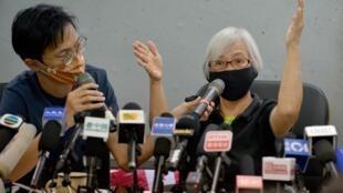 "La militante prodemocracia Alexandra Wong, apodada ""abuela Wong"", en una conferencia de prensa en Hong Kong el 17 de octubre de 2020"