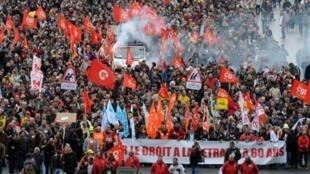 Манифестация против пенсионной реформы в Лионе 16 октября 2010 г.