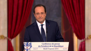 Le président François Hollande, lors de la conférence de presse organisée ce 14 janvier 2014.
