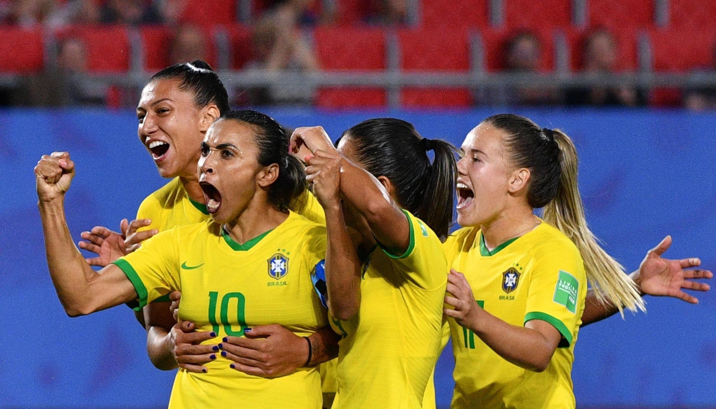 Marta (No.10), who has played more than 150 times for Brazil, will now receive the same pay as Neymar Jr when turning out for the national team.