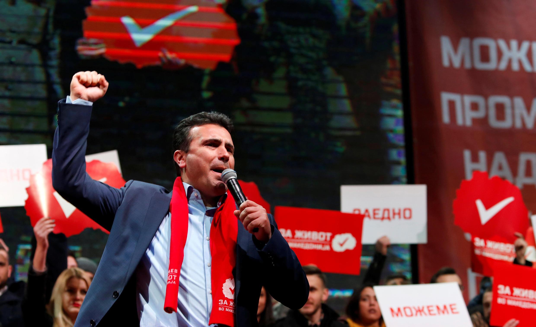 Zoran Zaev, leader du principal parti d'opposition SDSM, social-démocrate en mmeting à Skopje le 4 décembre 2016.