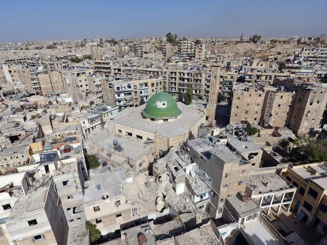 Cảnh tượng thành phố Aleppo bị tàn phá vì chiến tranh.